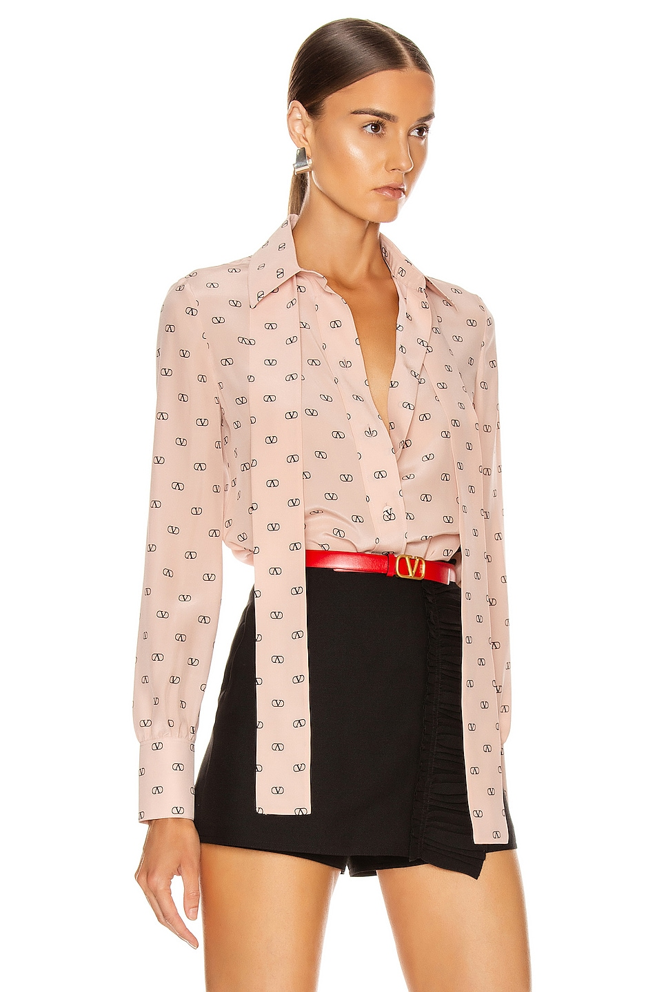 Image 3 of Valentino Logo Button Up in Antique Rose & Black
