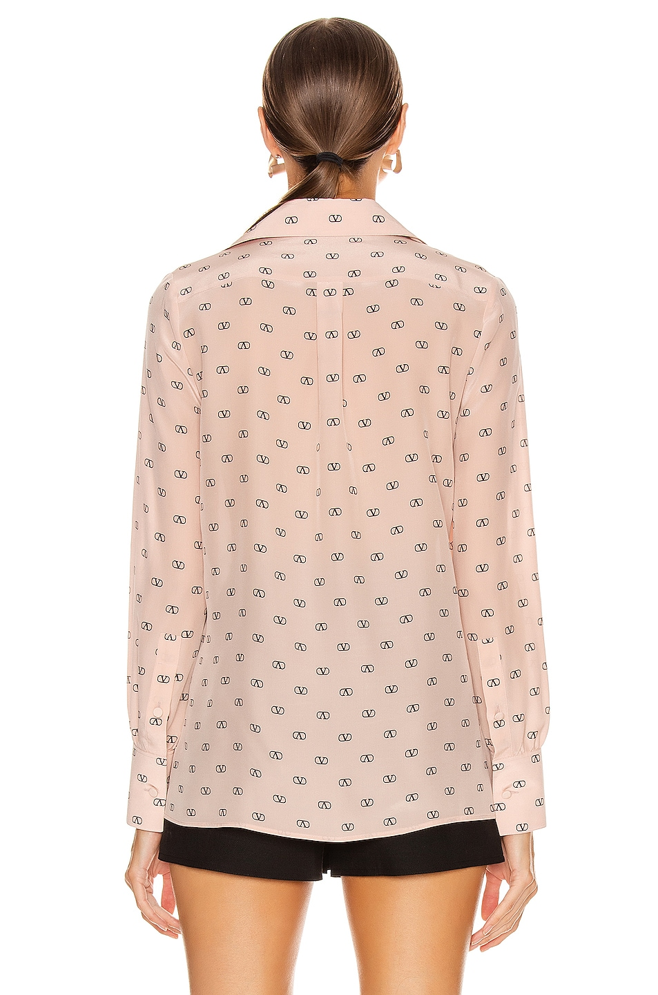Image 4 of Valentino Logo Button Up in Antique Rose & Black