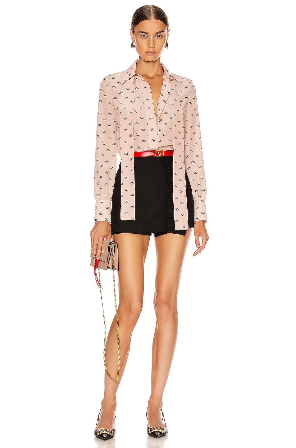 Image 5 of Valentino Logo Button Up in Antique Rose & Black