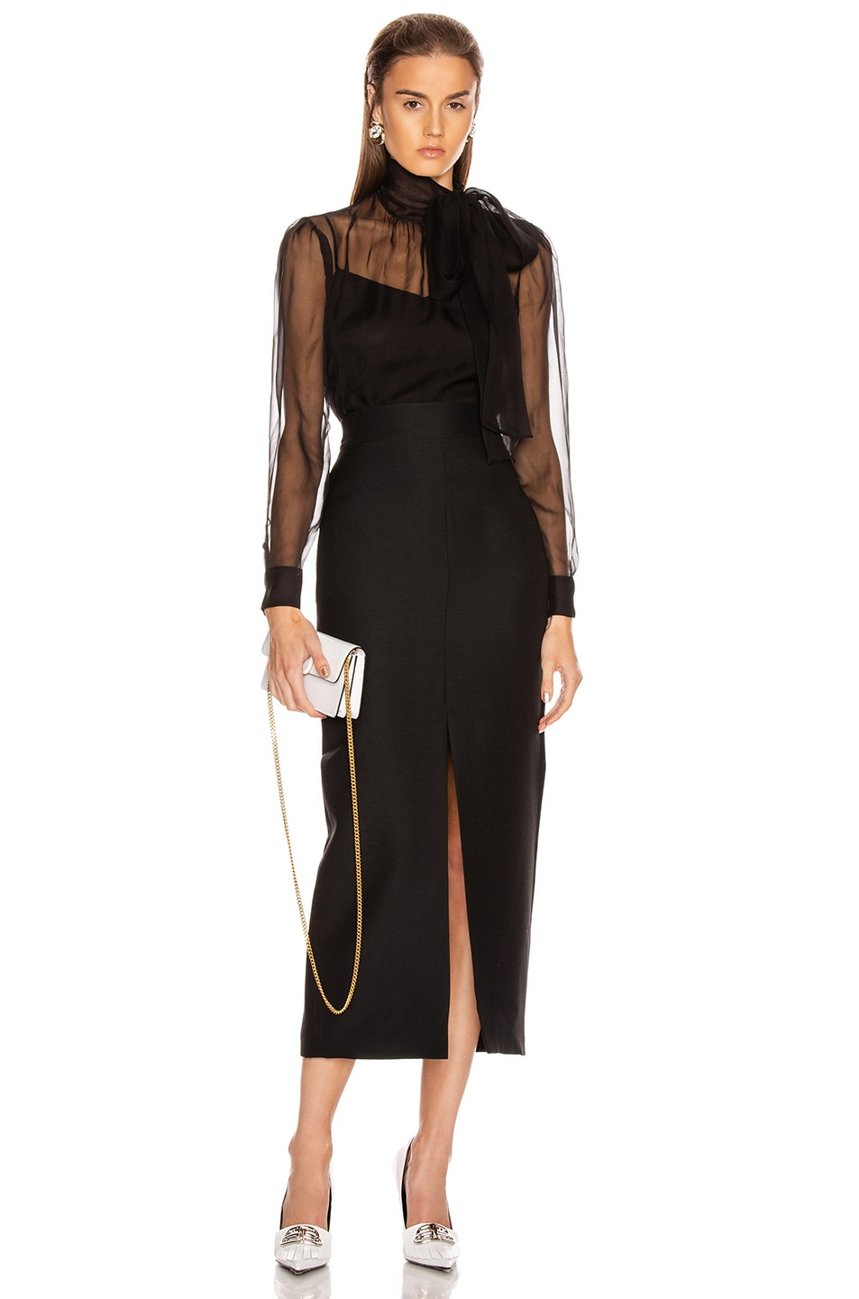 Image 4 of Valentino Tie Long Sleeve Blouse in Black
