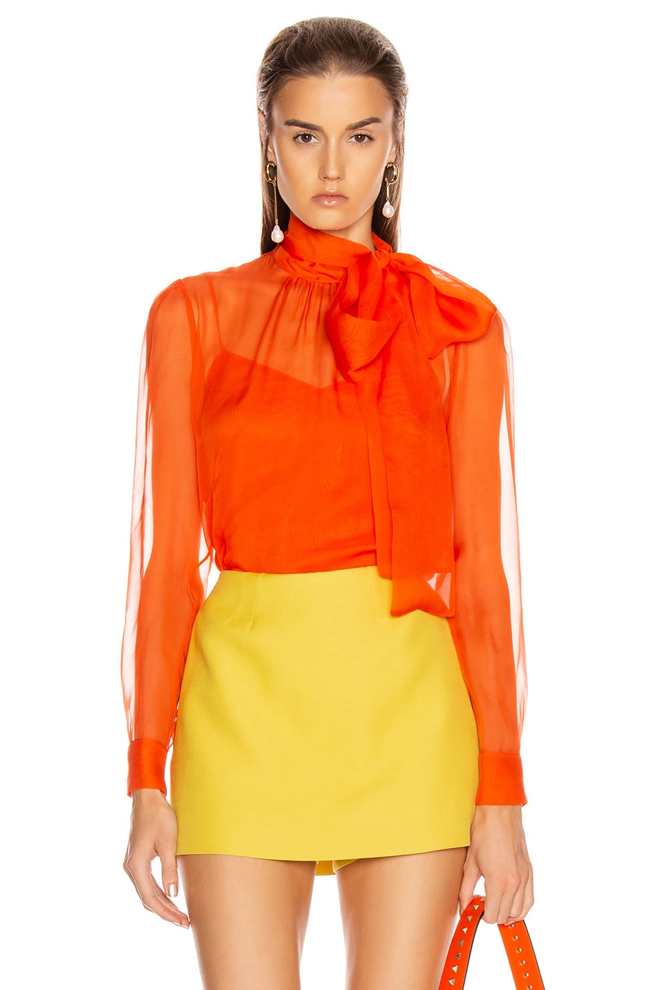 Image 1 of Valentino Tie Long Sleeve Blouse in Cadmium