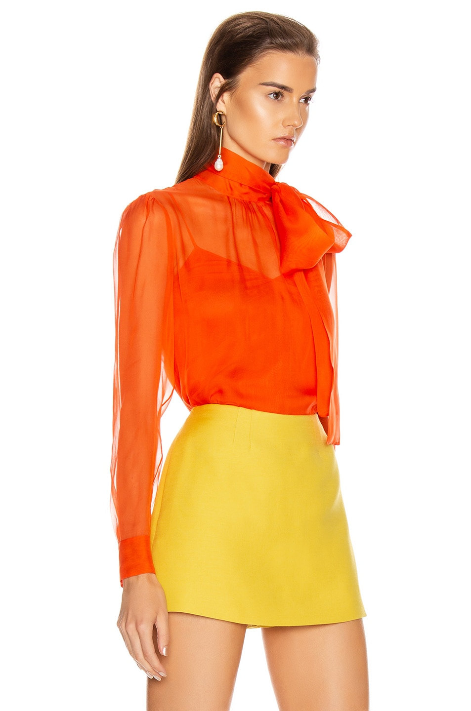 Image 2 of Valentino Tie Long Sleeve Blouse in Cadmium