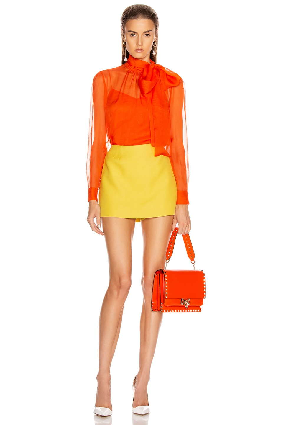 Image 4 of Valentino Tie Long Sleeve Blouse in Cadmium