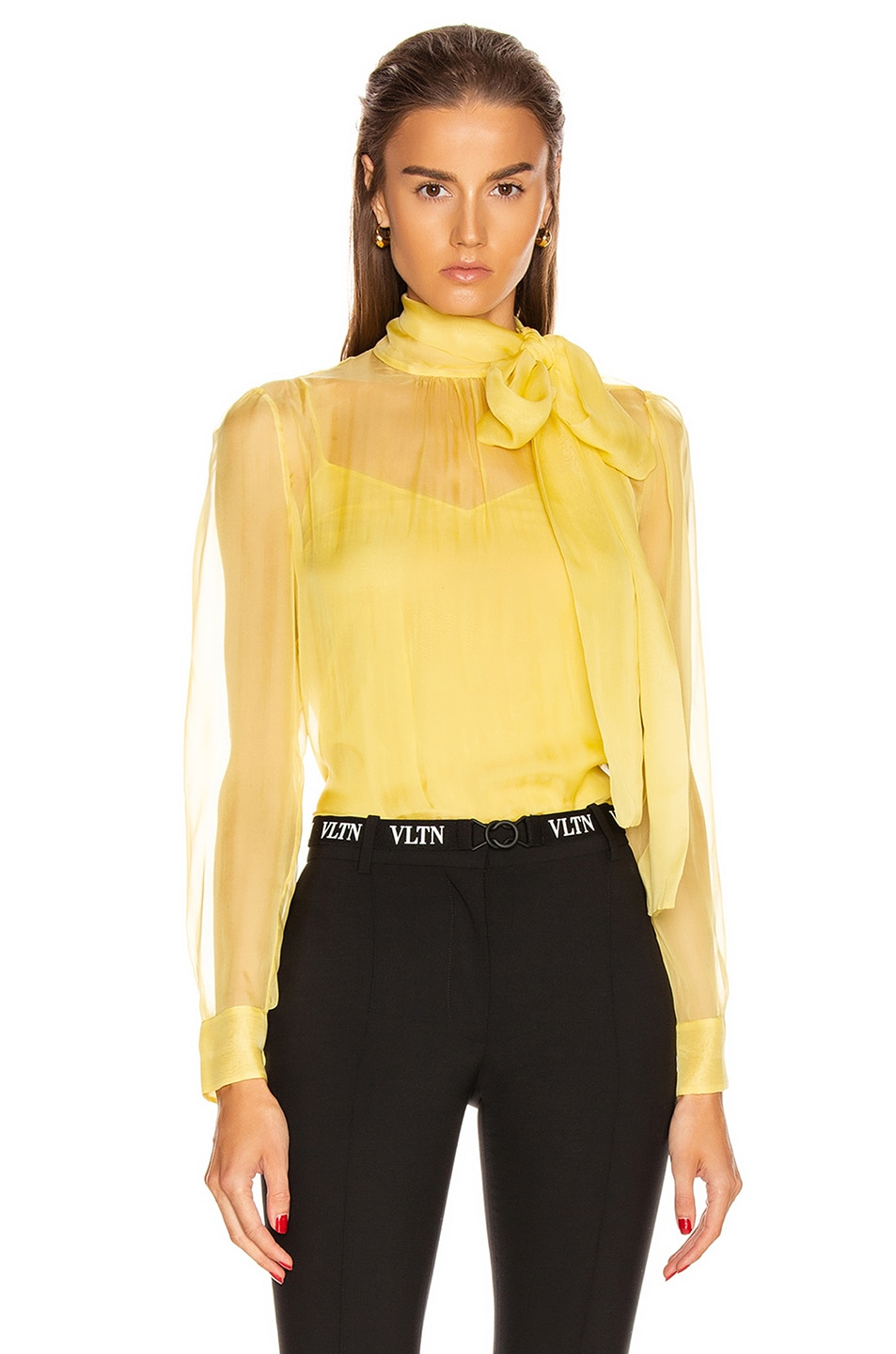 Image 1 of Valentino Tie Long Sleeve Blouse in Avocado