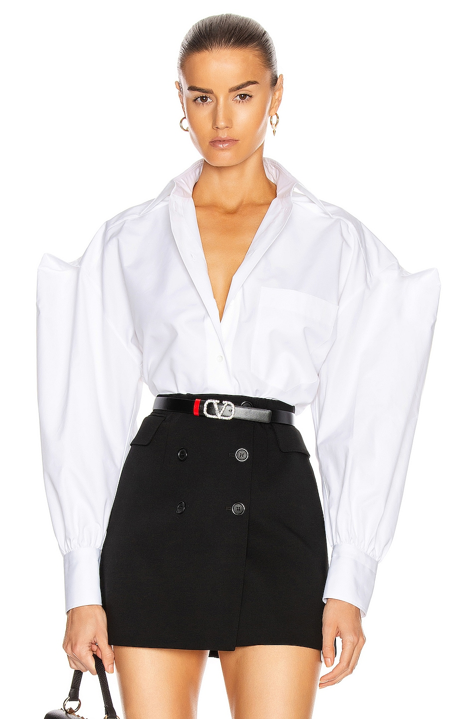 Image 1 of Valentino Button Down Top in Bianco