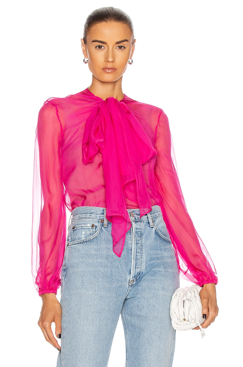 Image 1 of Valentino Long Sleeve Tie Blouse in Shocking Pink