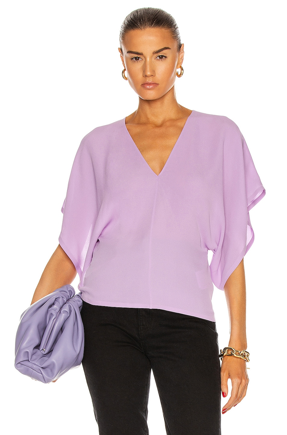 Image 1 of Valentino V Neck Blouse in Sheer Lilac