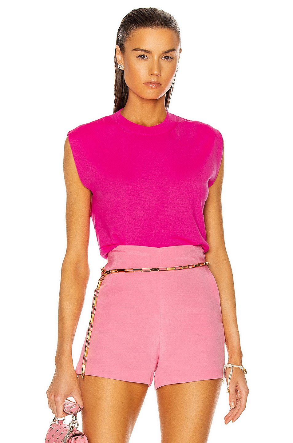 Image 1 of Valentino Sleeveless Knit Top in Flash Rose