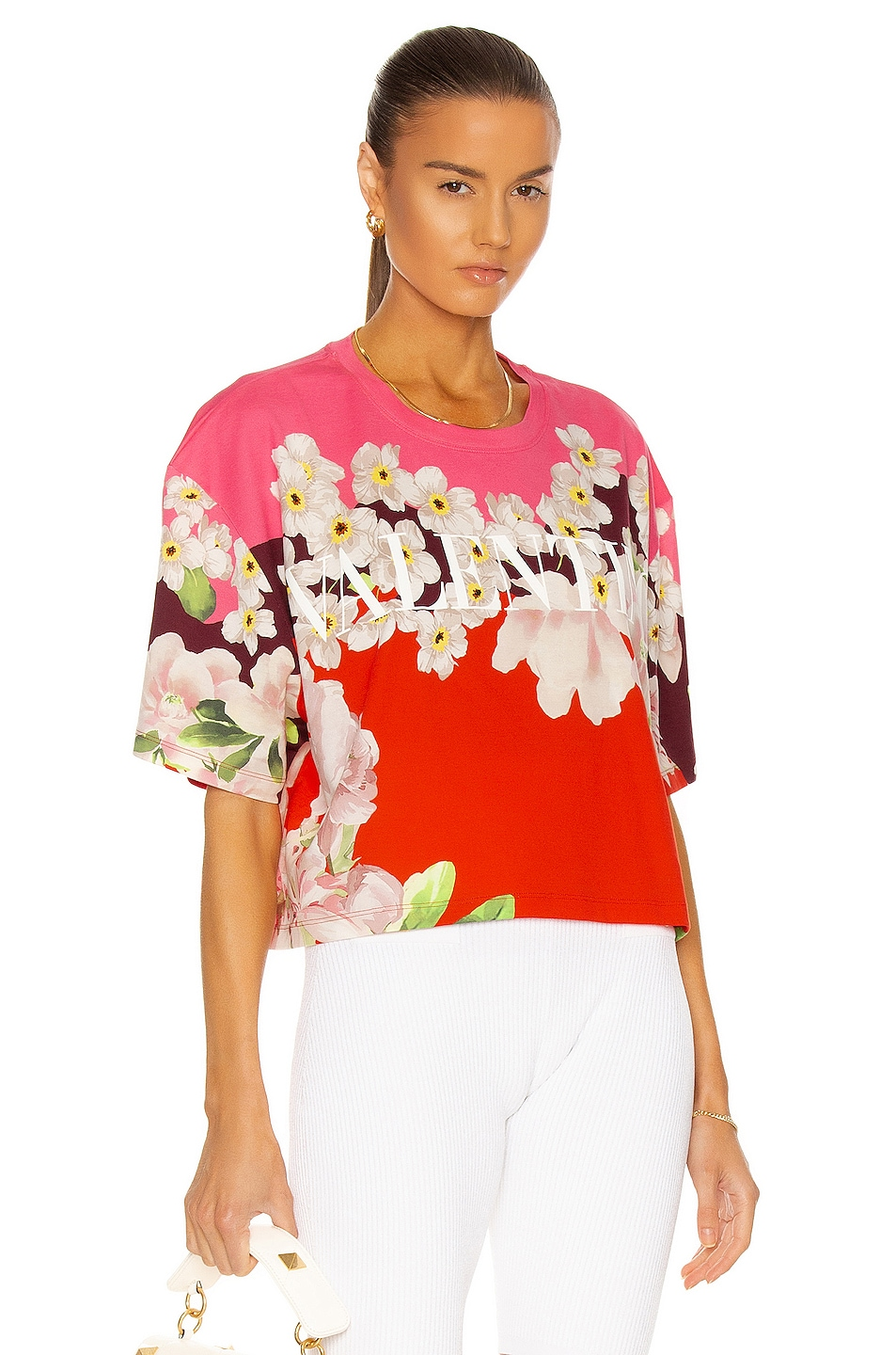 Image 1 of Valentino Short Sleeve T Shirt in Multicolor Flash Rose