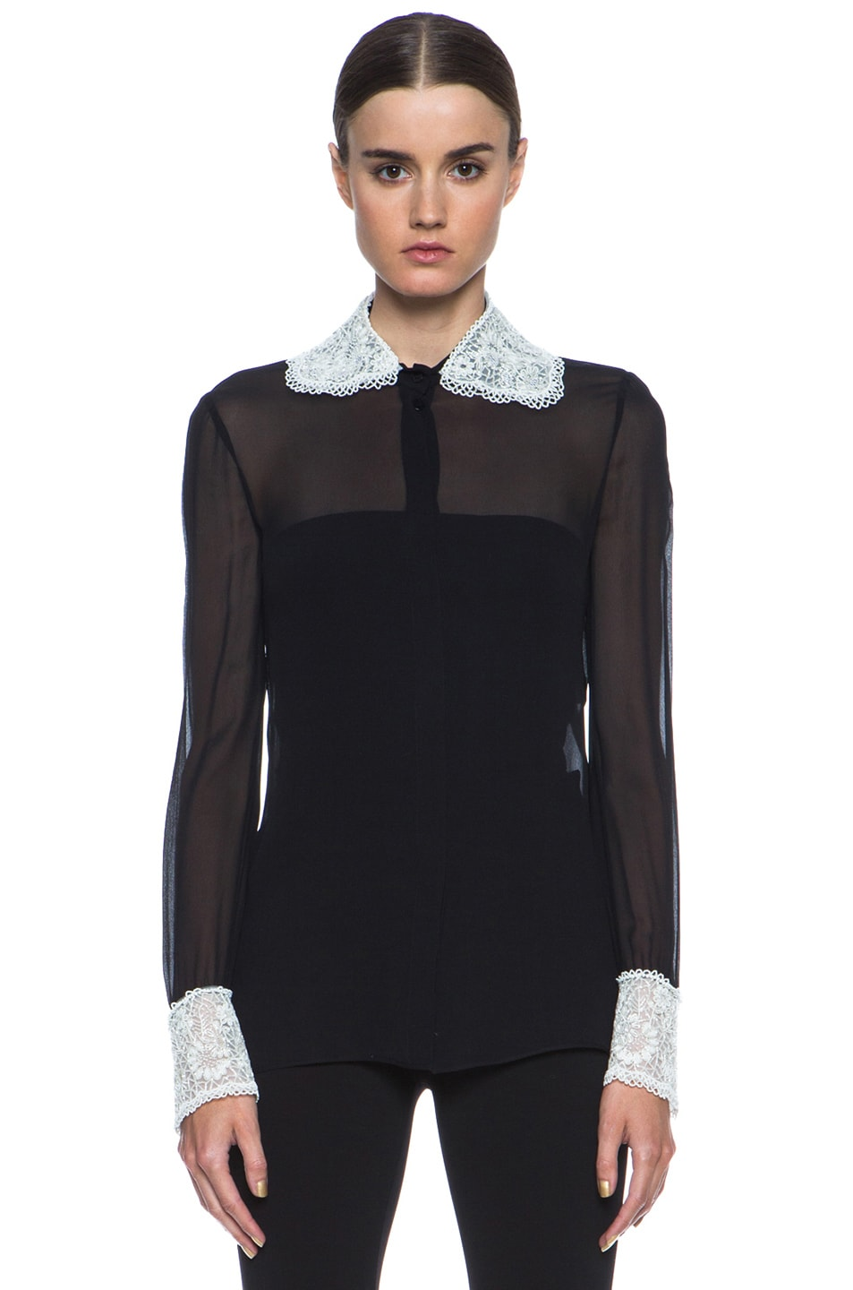 Image 1 of Valentino Embroidered Collar & Cuff Embellished Silk Blouse in Black