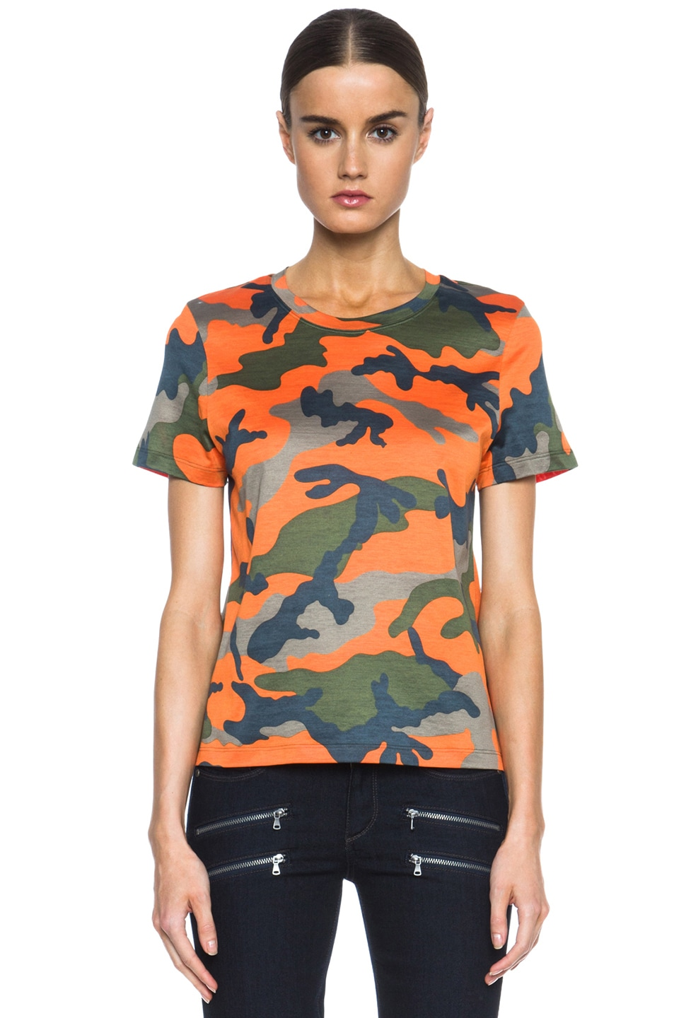 Image 1 of Valentino Camouflage Cotton Tee in Fluo Orange