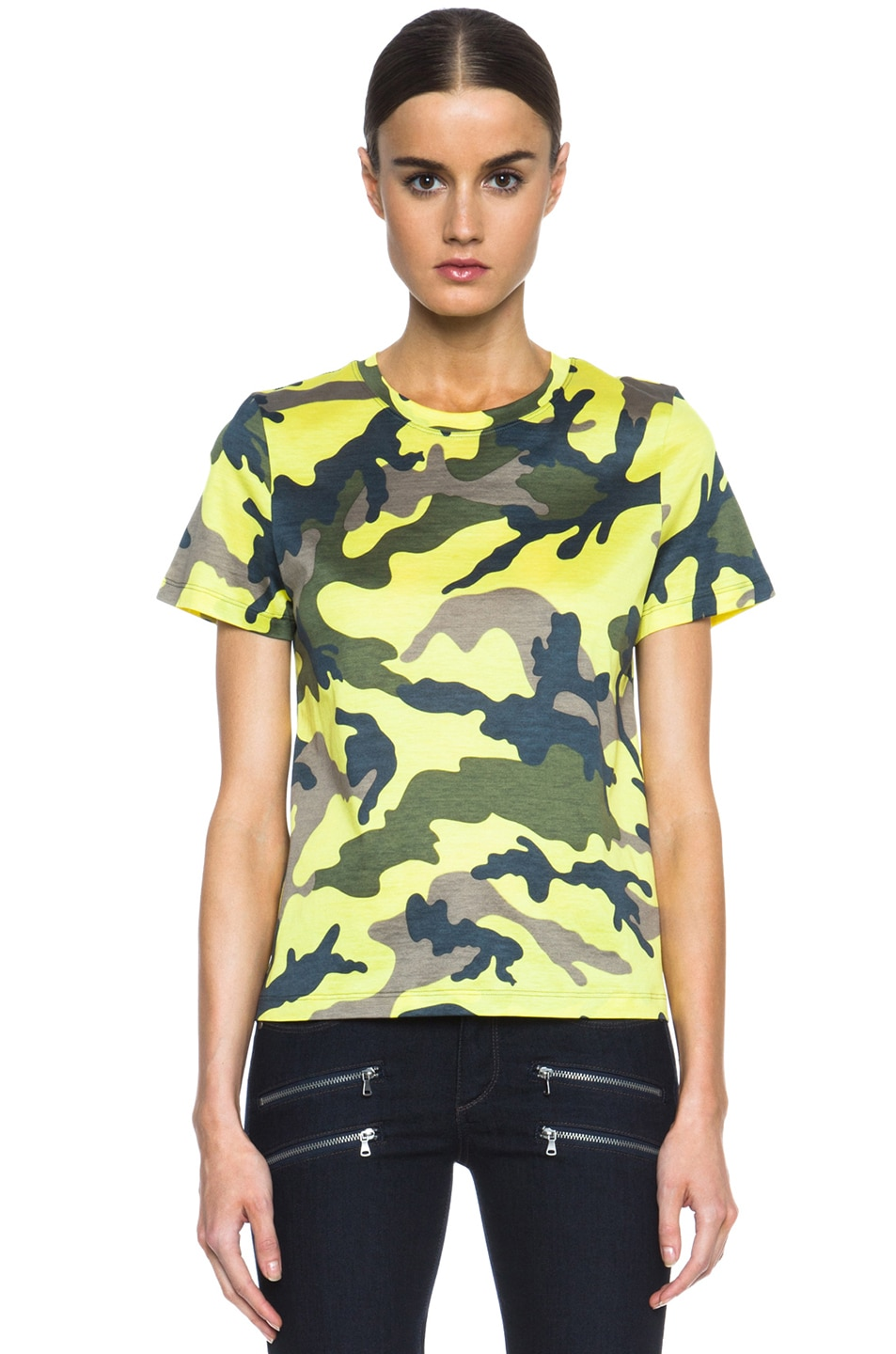 Image 1 of Valentino Camouflage Cotton Tee in Fluo Yellow