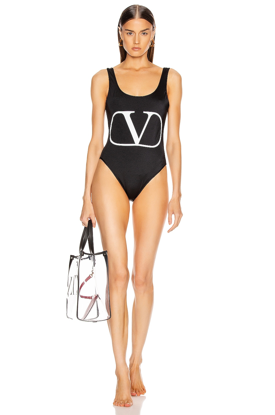 Image 1 of Valentino Logo One Piece Swimsuit in Black & White