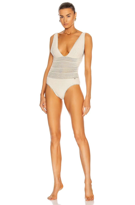 Image 1 of Valentino V Neck One Piece Swimsuit in Avorio