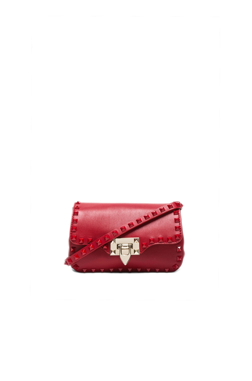 Image 1 of Valentino Rouge Rockstud Crossbody Bag in Red