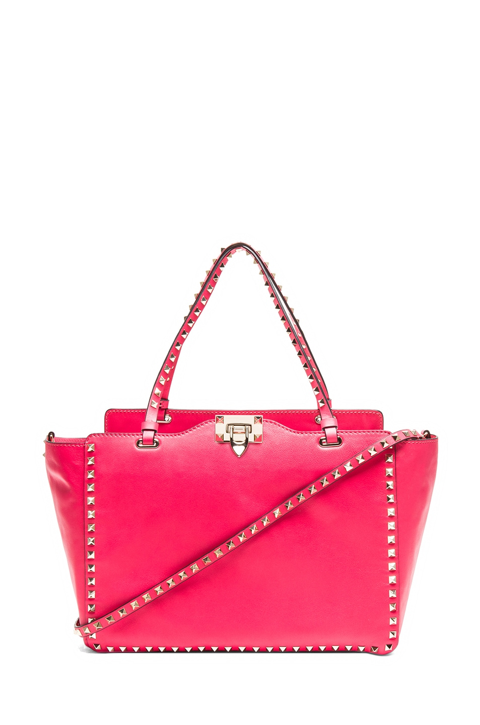 Image 1 of Valentino Medium Rockstud Trapeze Tote in Raspberry Red