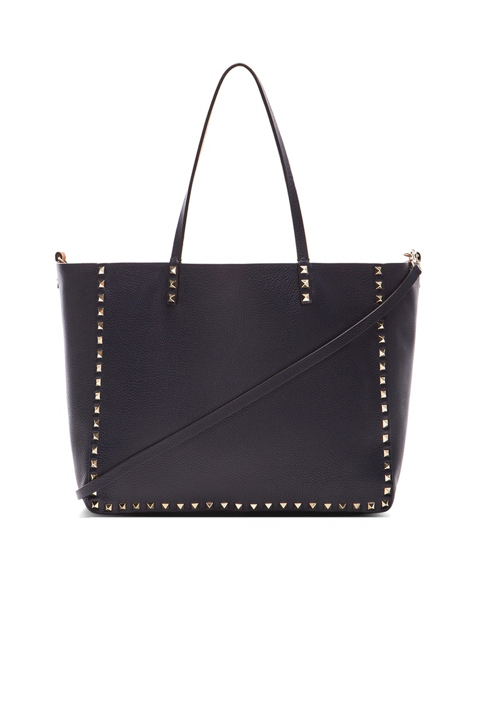 Image 1 of Valentino Medium Reversible Rockstud Double Tote in Marine & Light Cuir
