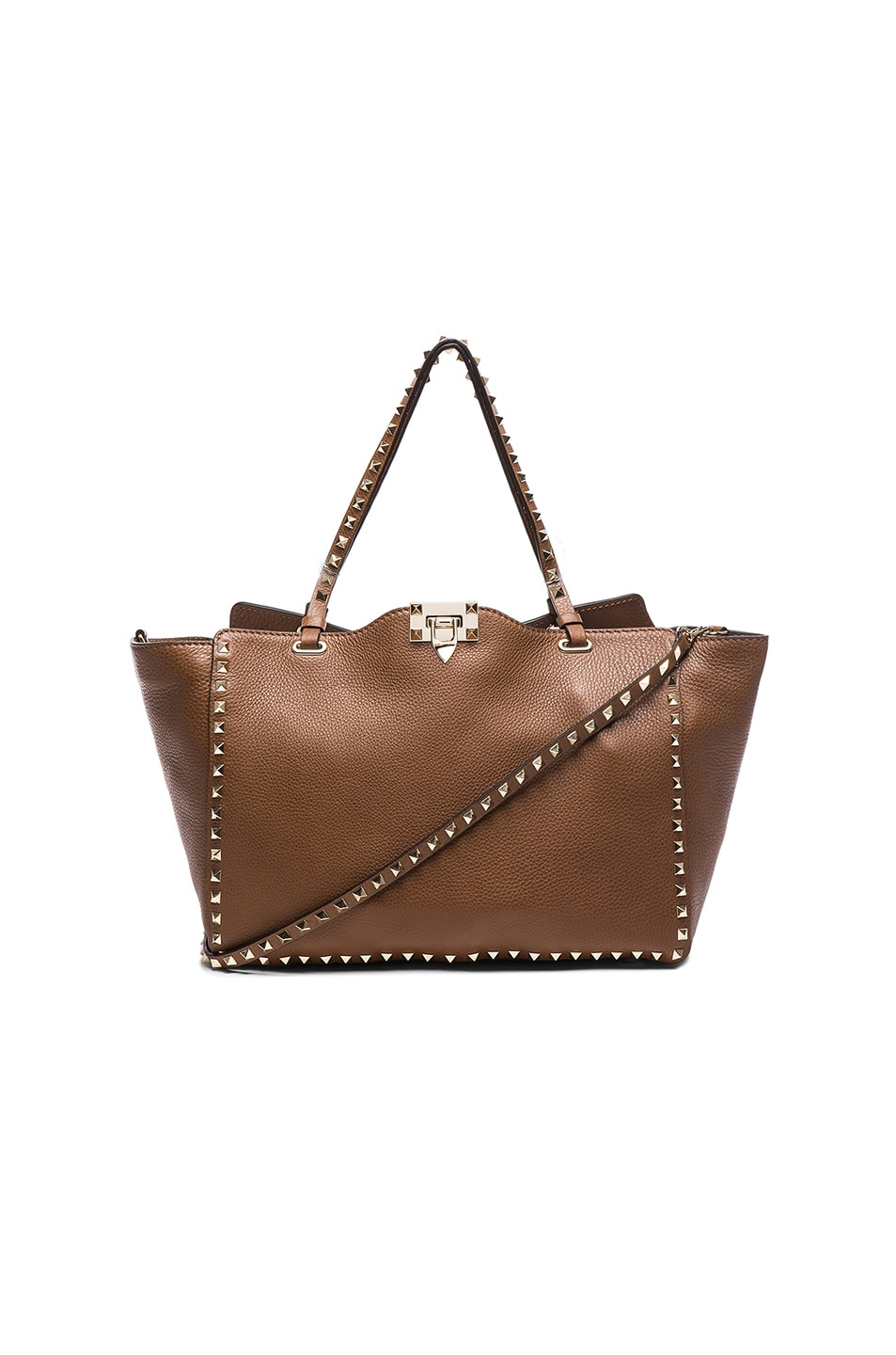 Image 1 of Valentino Rockstud Medium Rockstud Crossbody Tote in Deep Cuir