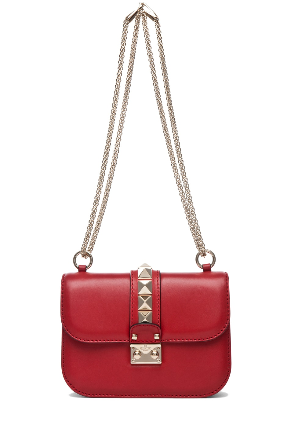 Image 5 of Valentino Lock Flap Bag in Red