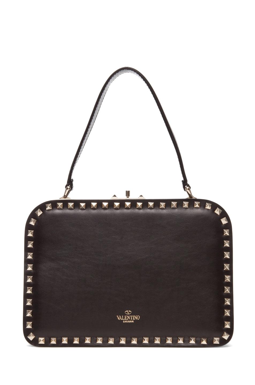 Image 2 of Valentino Rockstud Handle Frame Bag in Black