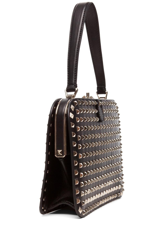 Image 3 of Valentino Rockstud Handle Frame Bag in Black