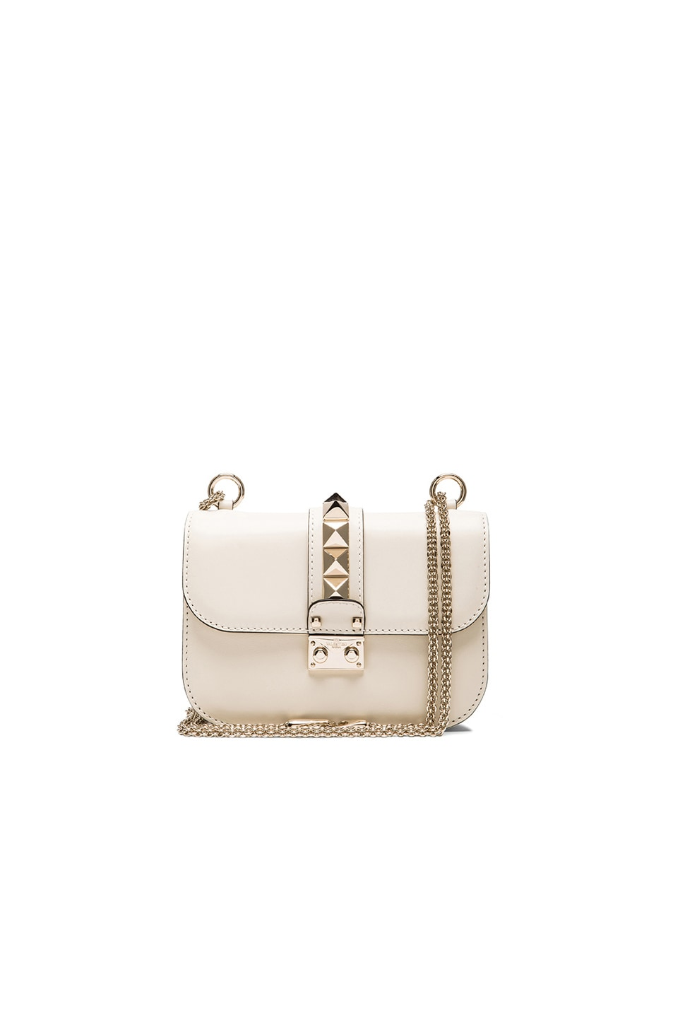 Image 1 of Valentino Small Lock Flap Bag in Light Ivory