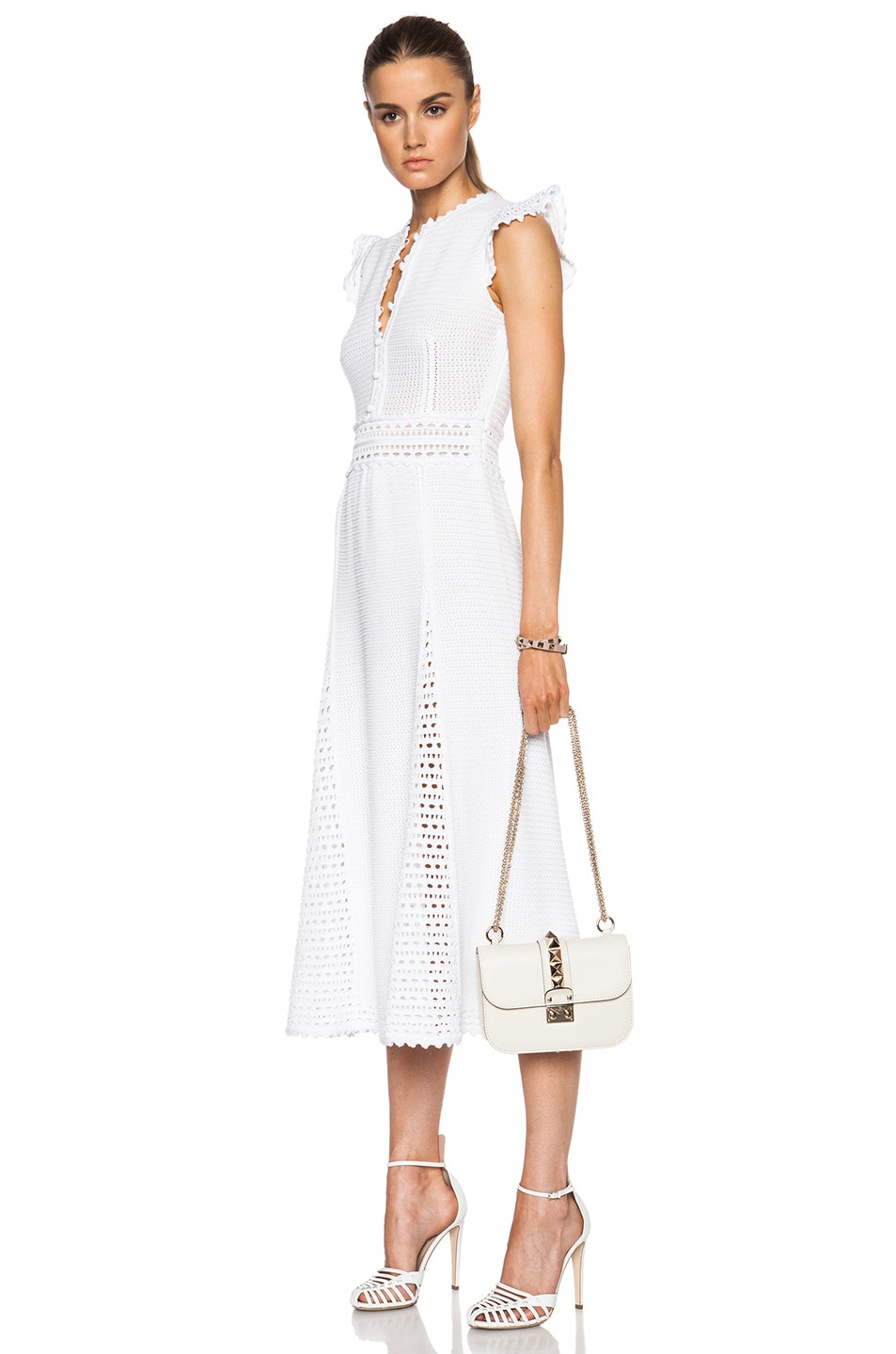 Image 2 of Valentino Small Lock Flap Bag in Light Ivory