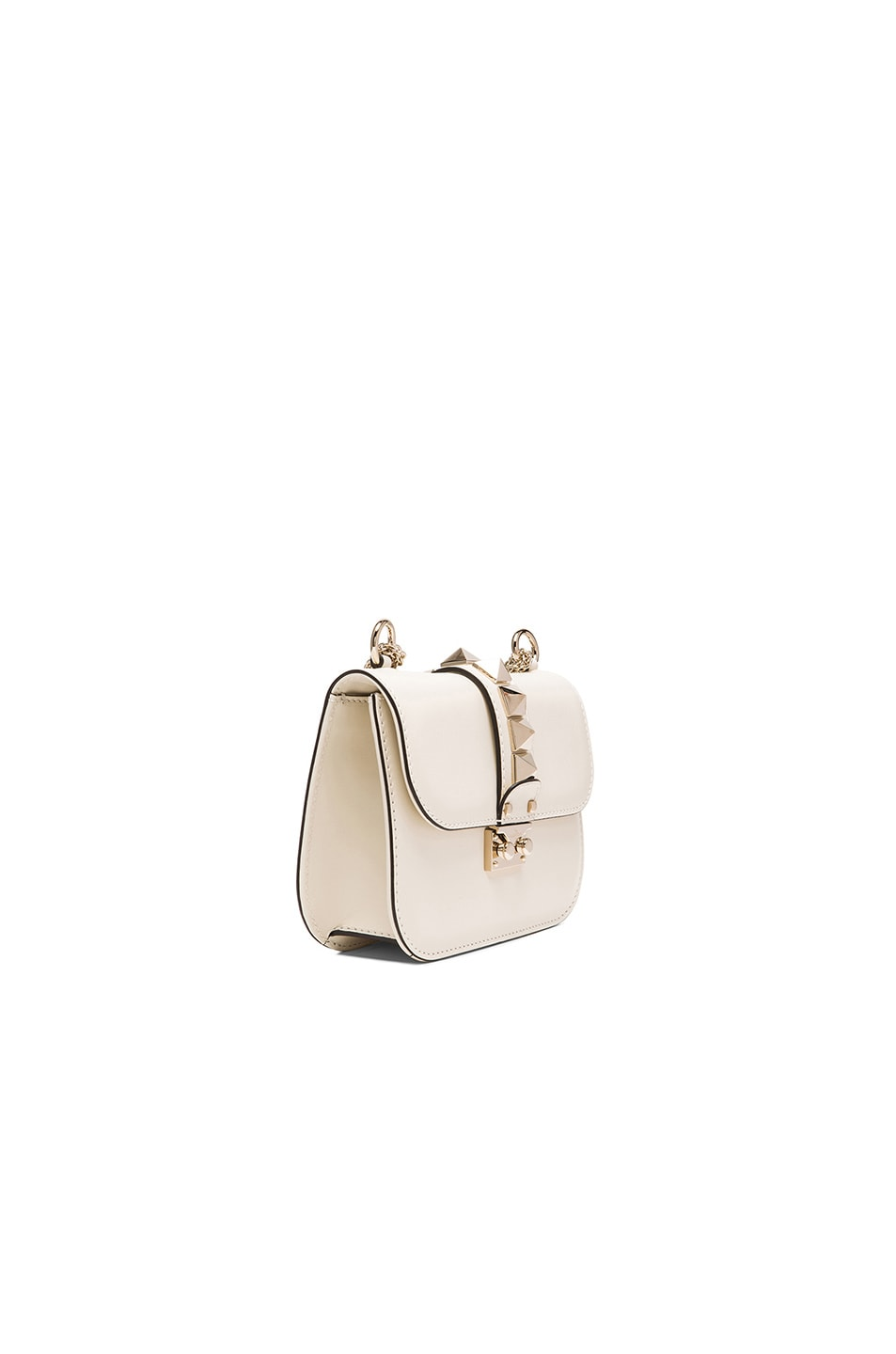 Image 4 of Valentino Small Lock Flap Bag in Light Ivory