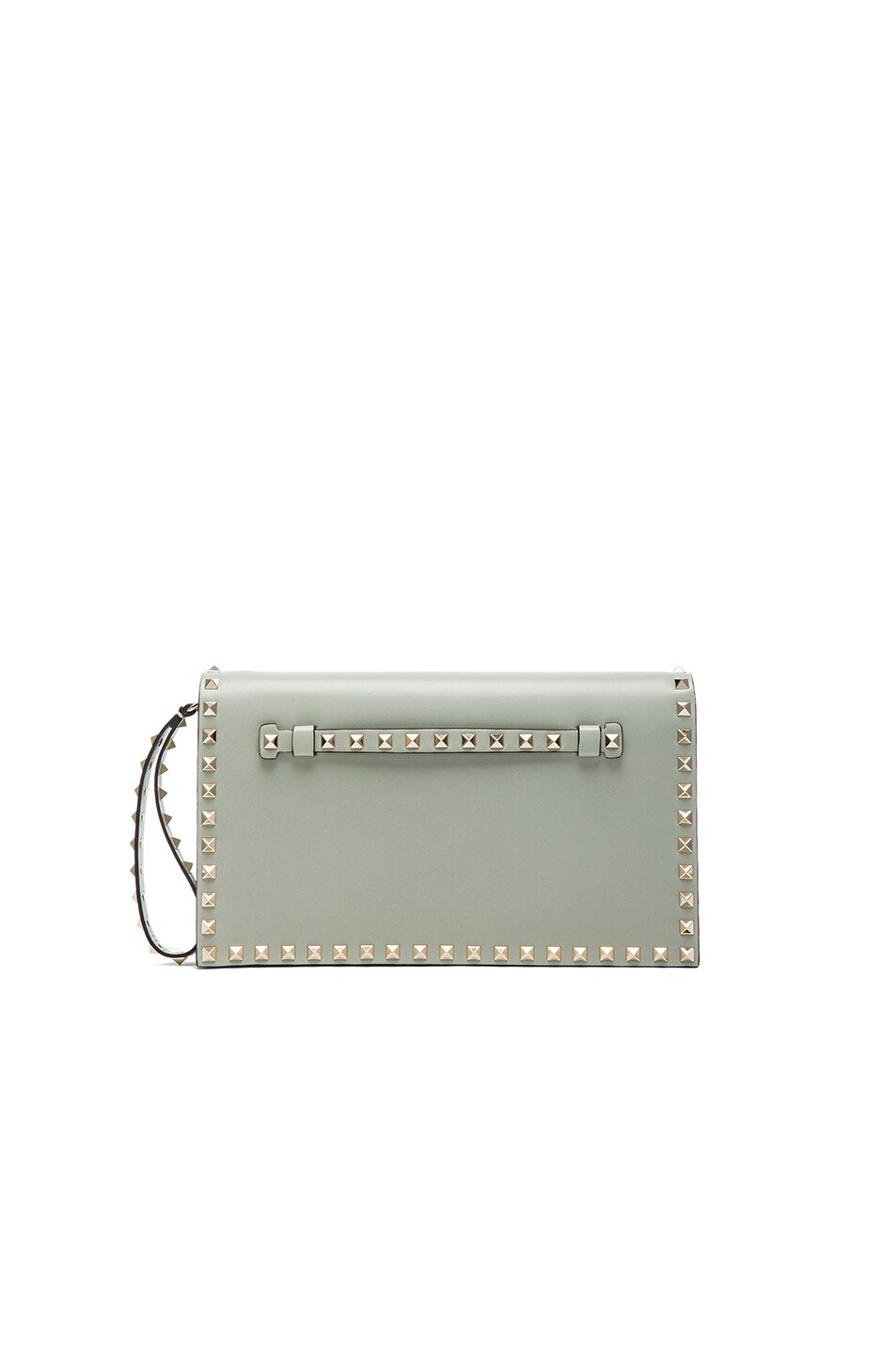 Image 1 of Valentino Rockstud Flap Clutch in Water Green