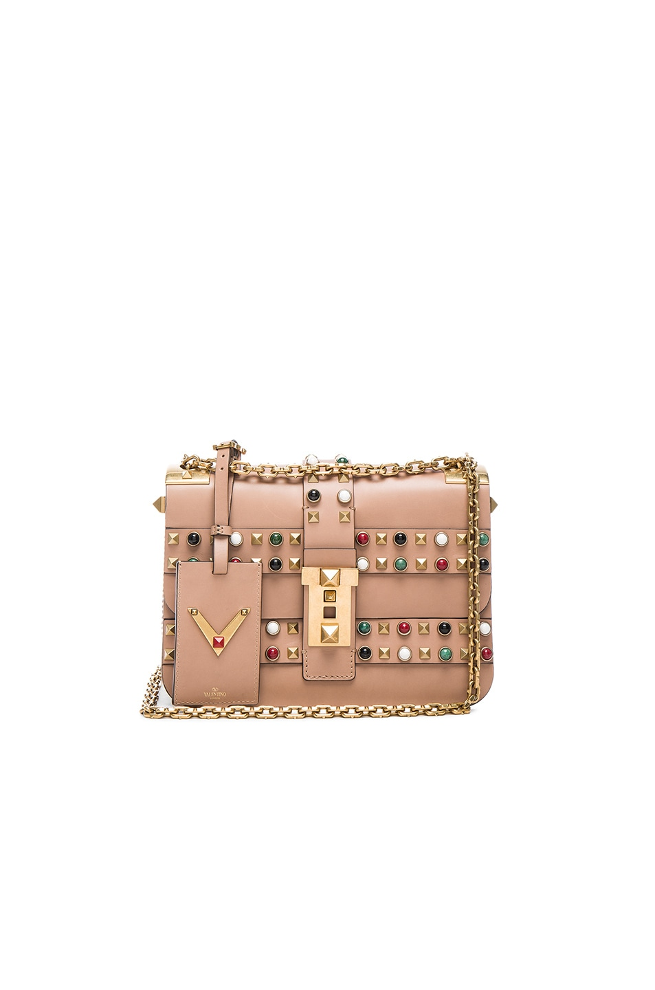 Image 1 of Valentino Rockstud Rolling Bag in Soft Noisette