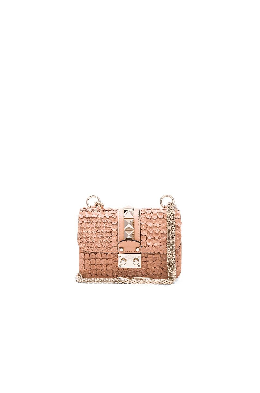 Image 1 of Valentino Ricamo Garden Party Mini Lock Shoulder Bag in Skin Sorbet