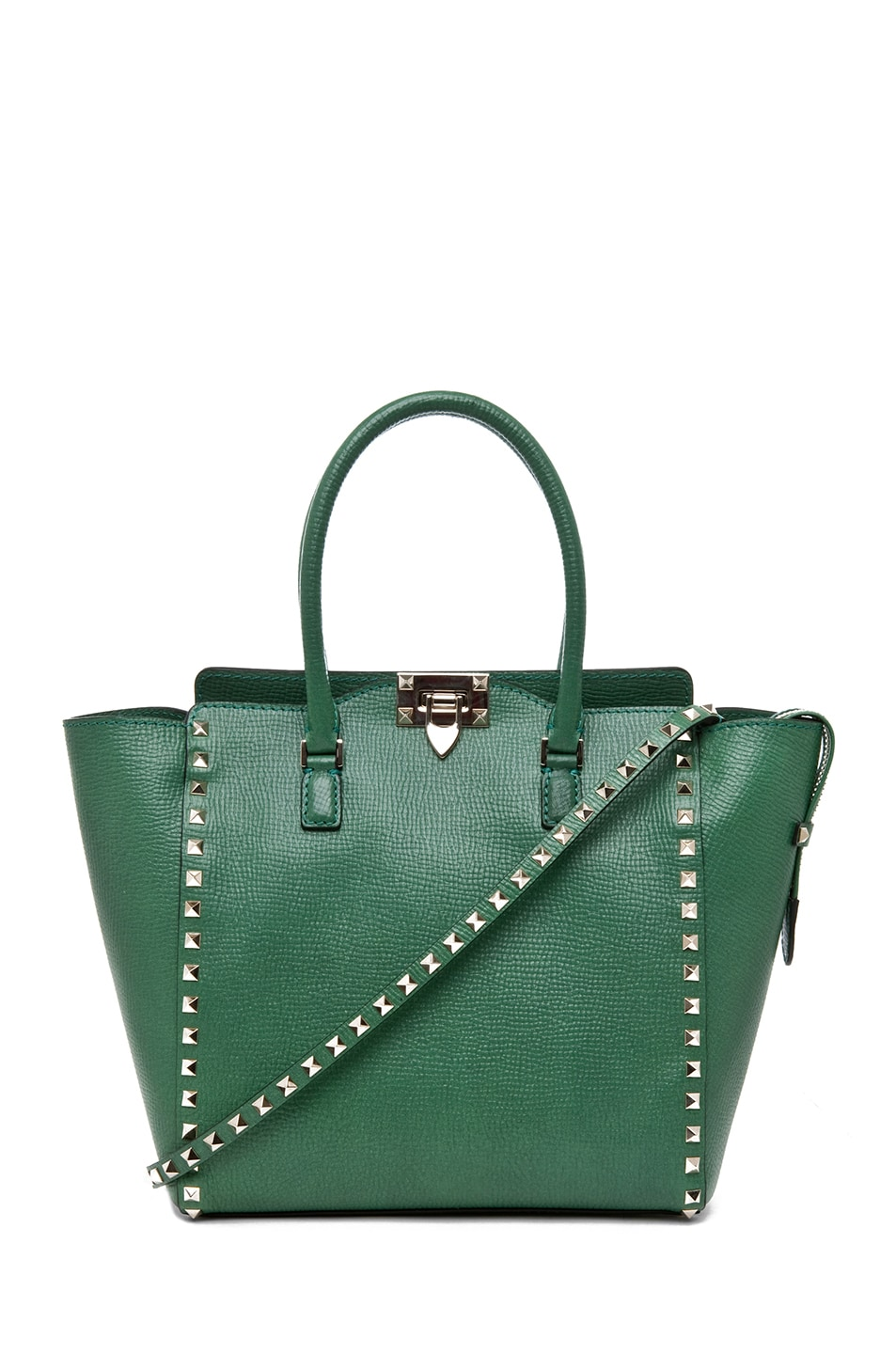 Image 1 of Valentino Rockstud Double Handle Bag in Pop Green