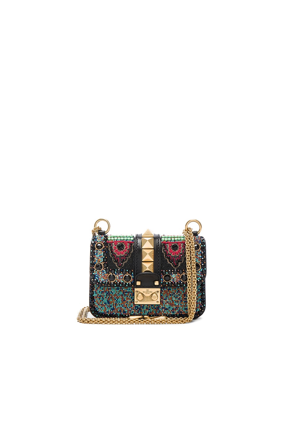 Image 1 of Valentino Mini Ethnic Glam Lock Bag in Black