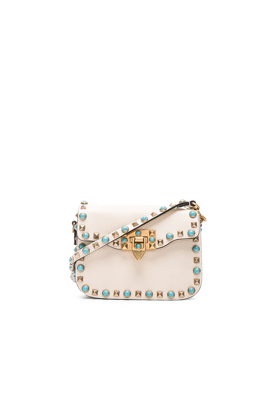 Image 1 of Valentino Small Rockstud Rolling Bag in Light Ivory