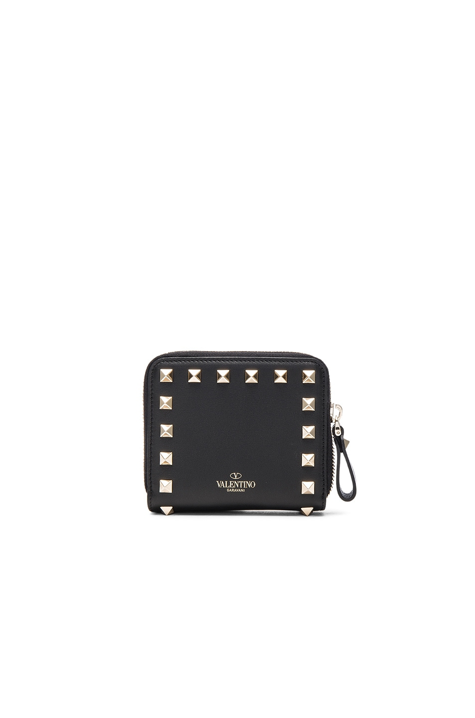 Image 2 of Valentino Rockstud Zip Around Wallet in Nero