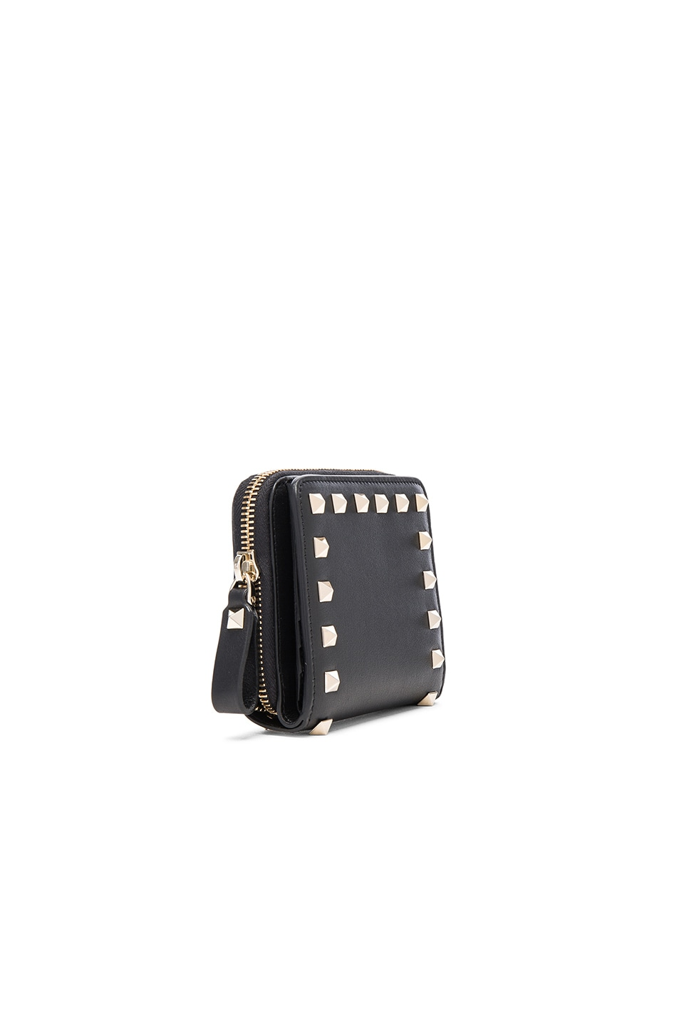 Image 3 of Valentino Rockstud Zip Around Wallet in Nero