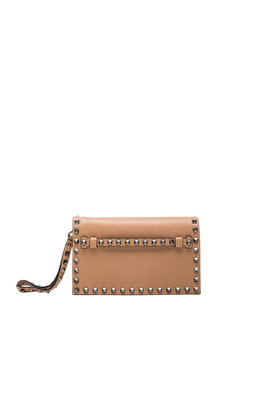 Image 1 of Valentino Rockstud Small Clutch in Soft Noisette