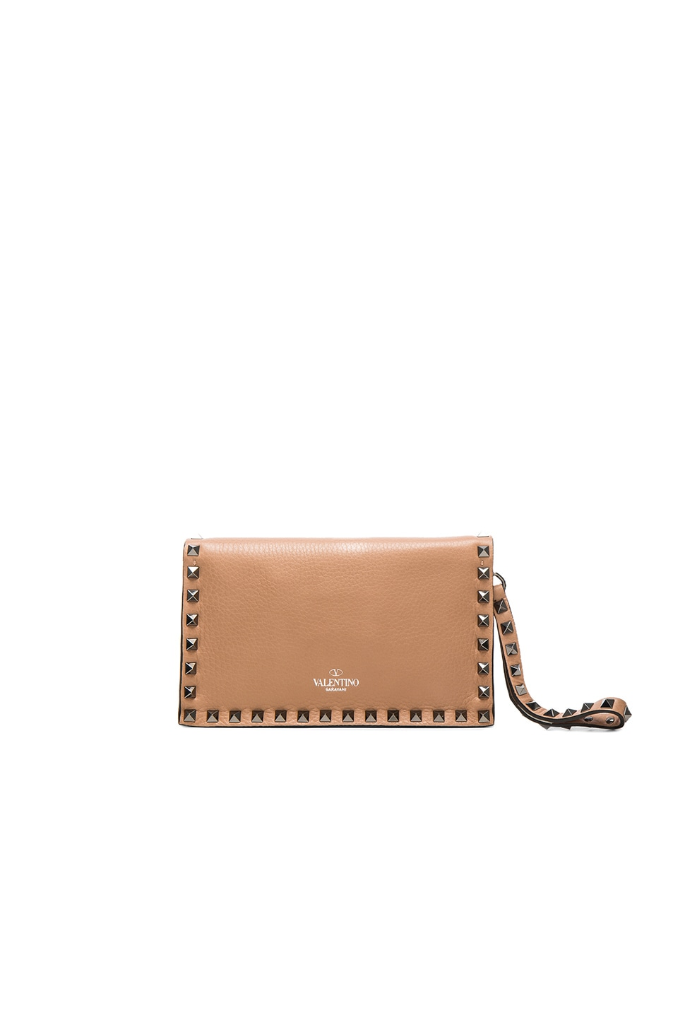 Image 2 of Valentino Rockstud Small Clutch in Soft Noisette