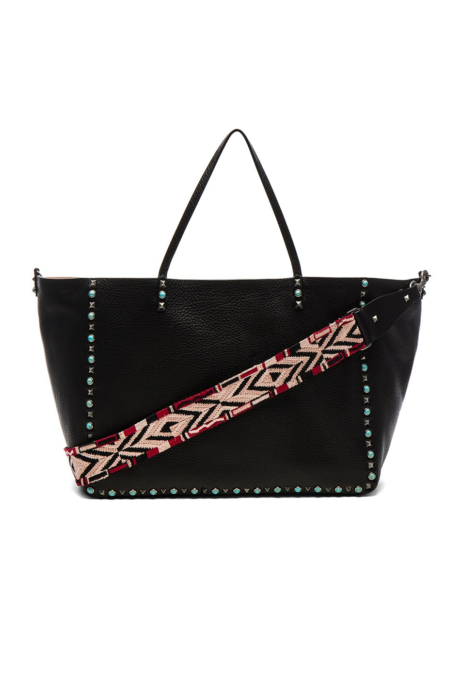 Image 1 of Valentino Guitar Rockstud Rolling Double Large Tote in Black, Soft Noisette & Red