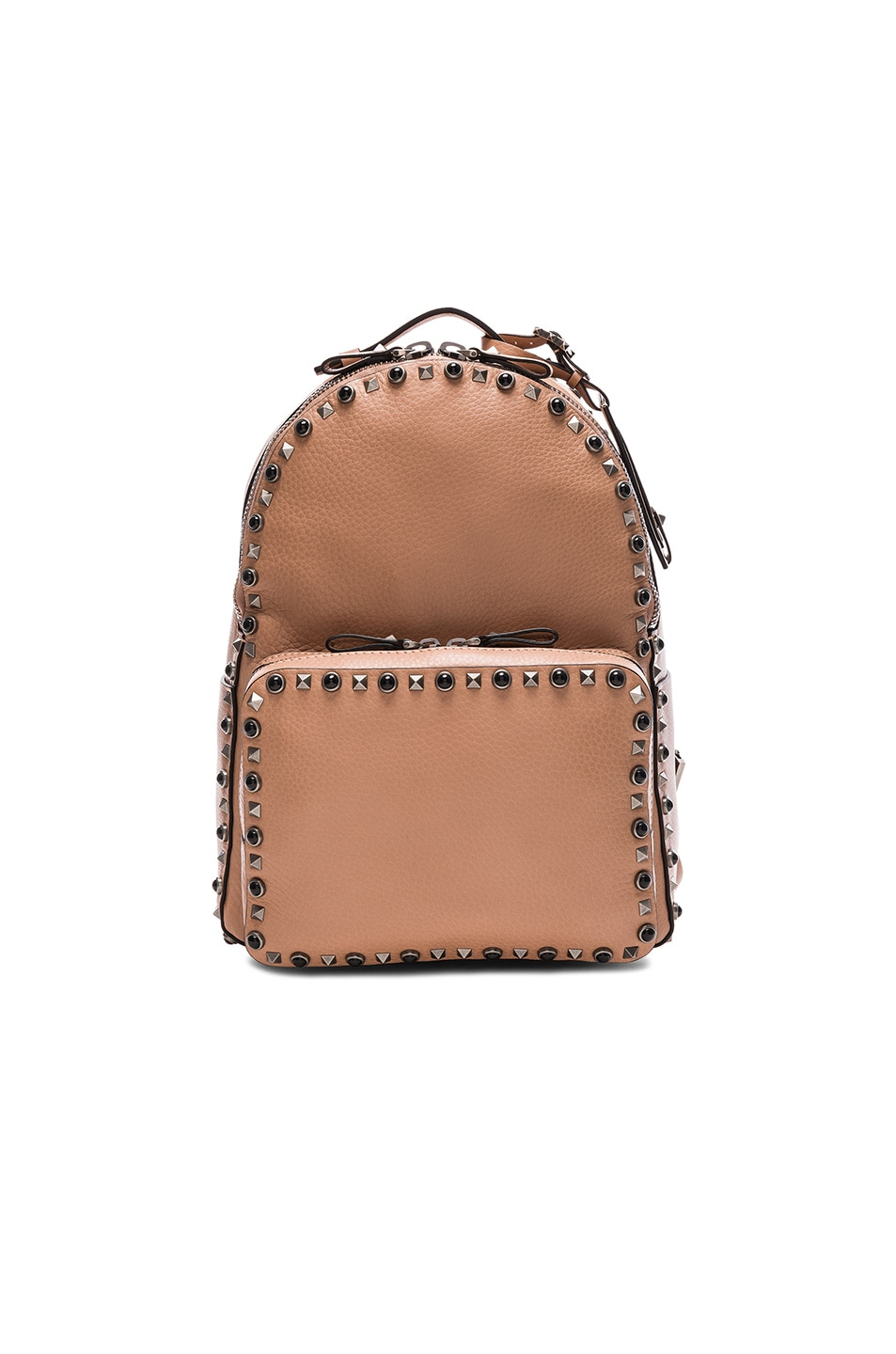 Image 1 of Valentino Guitar Rockstud Rolling Medium Backpack in Soft Noisette, Black & Red