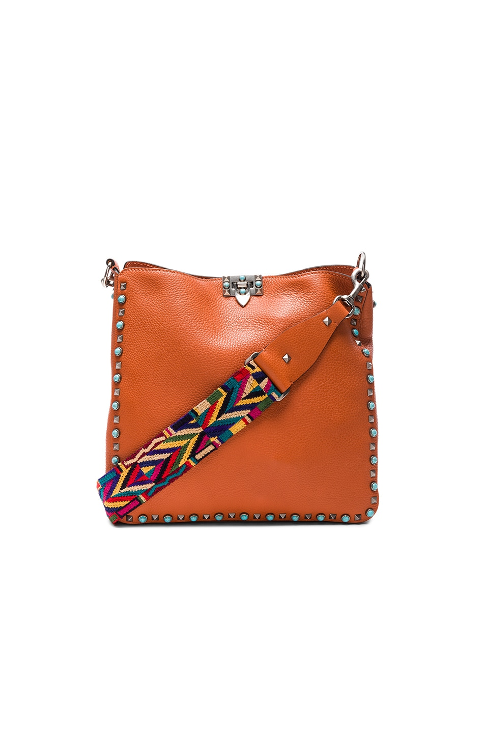 Image 1 of Valentino Rockstud Hobo Bag in Orange