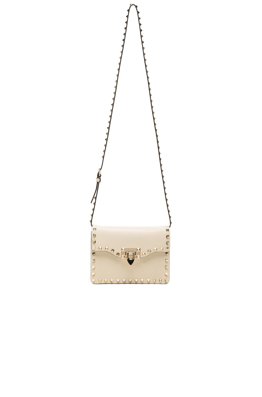 Image 5 of Valentino Small Rockstud Shoulder Bag in Light Ivory
