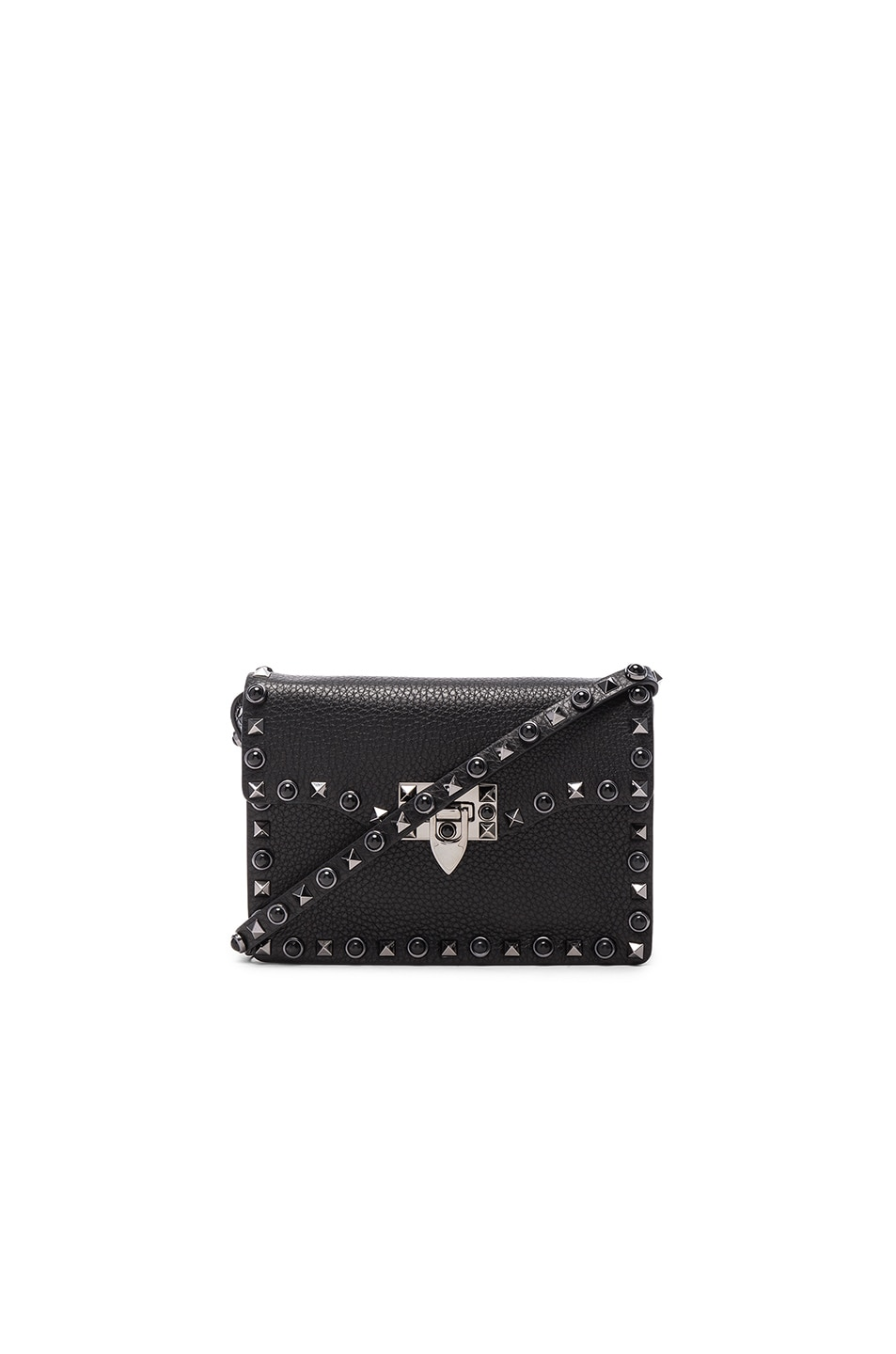Image 1 of Valentino Small Rockstud Shoulder Bag in Black