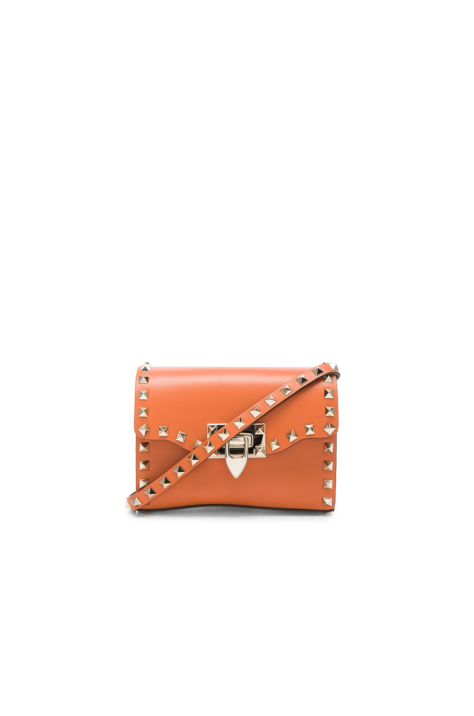 Image 1 of Valentino Small Rockstud Shoulder Bag in Orange