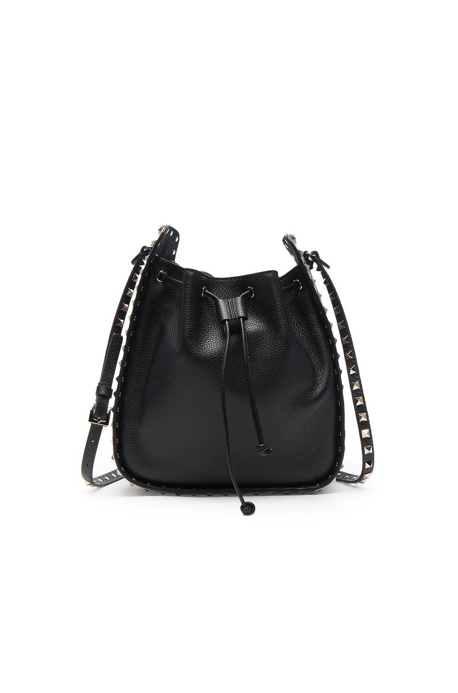 Image 1 of Valentino Rockstud Large Bucket Bag in Black