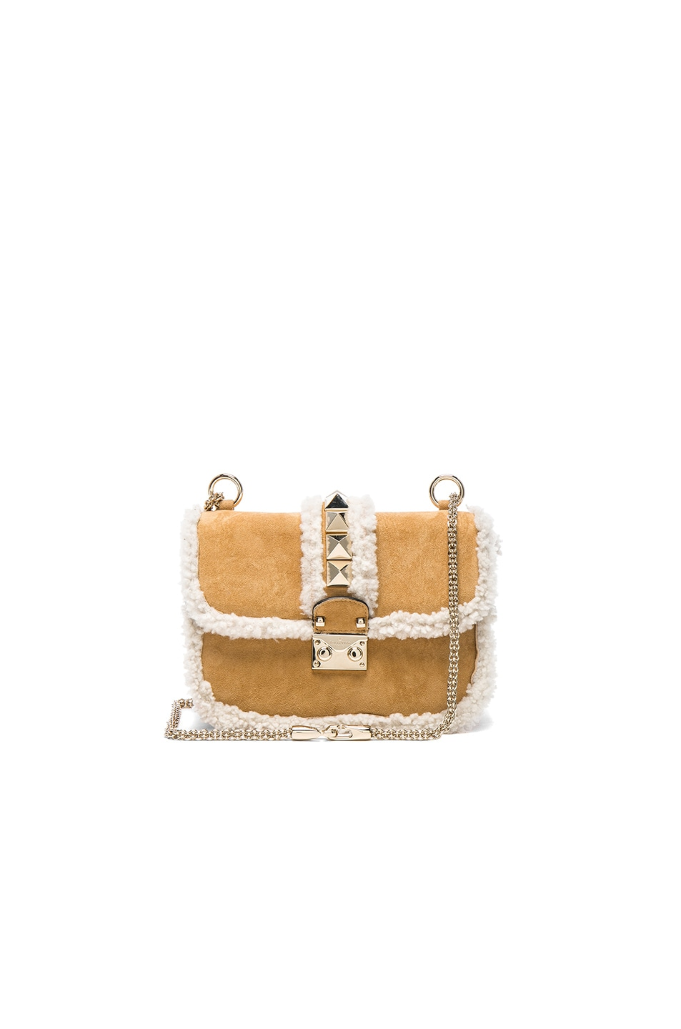 Image 1 of Valentino Small Lock Shoulder Bag in Shearling & White