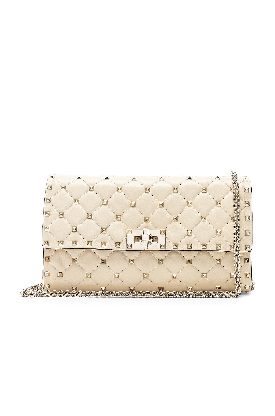 Image 1 of Valentino Rockstud Spike Clutch in Light Ivory