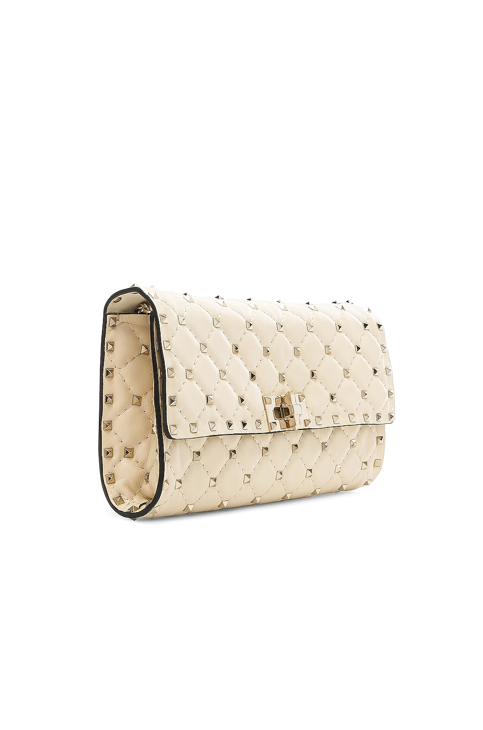 Image 4 of Valentino Rockstud Spike Clutch in Light Ivory