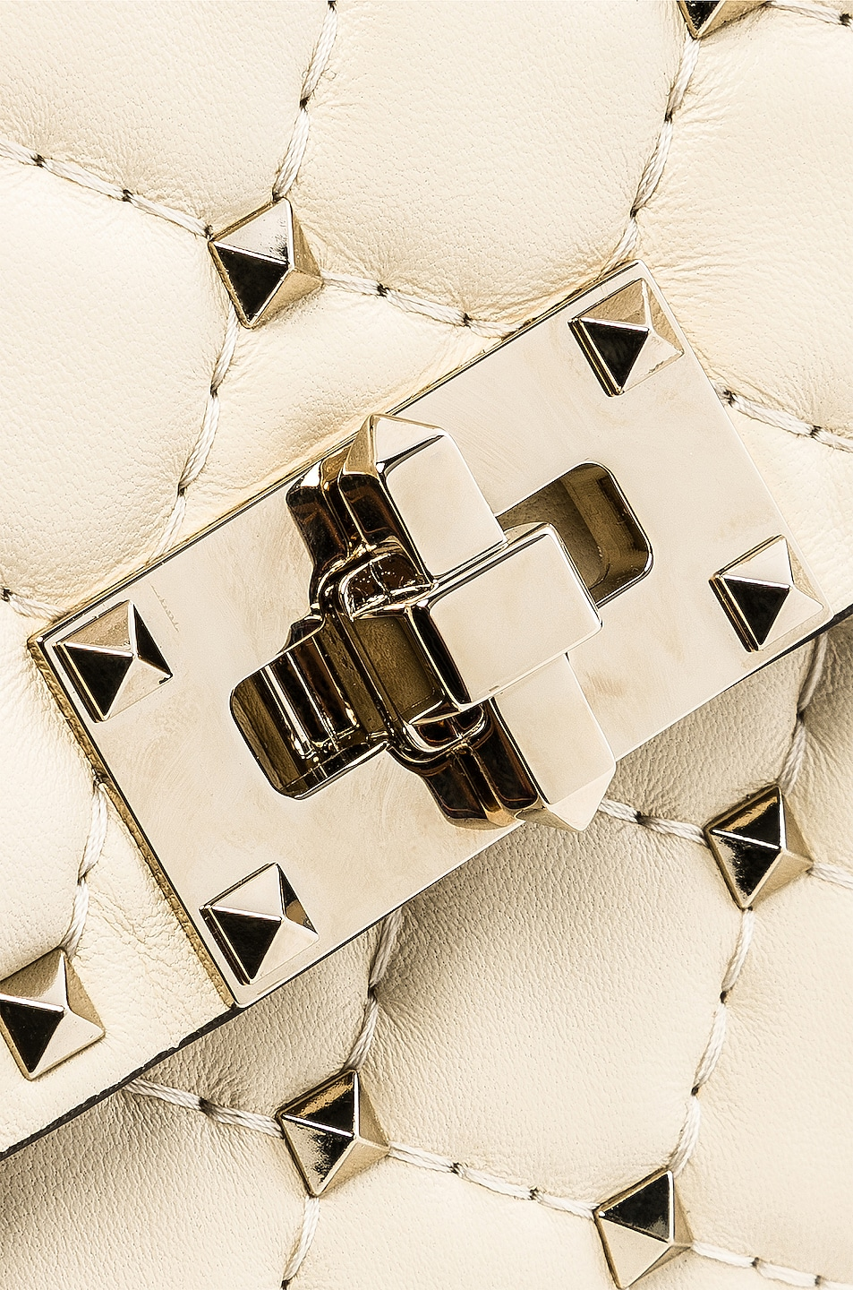 Image 8 of Valentino Rockstud Spike Clutch in Light Ivory