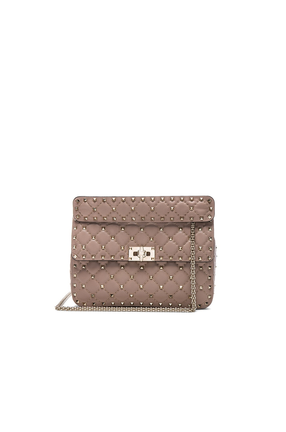 Image 1 of Valentino Quilted Rockstud Spike Medium Chain Bag in Poudre